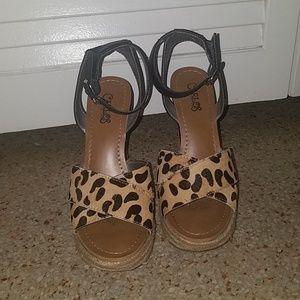 Cheetah print ankle strap wedges